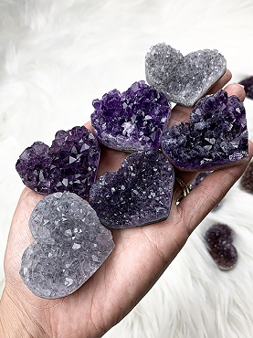 Small Amethyst Heart Clusters
