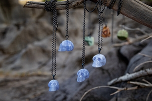 Blue Lace Agate Skull Pendants