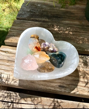 Selenite Heart Charging Bowl (see description for Etsy link to purchase)